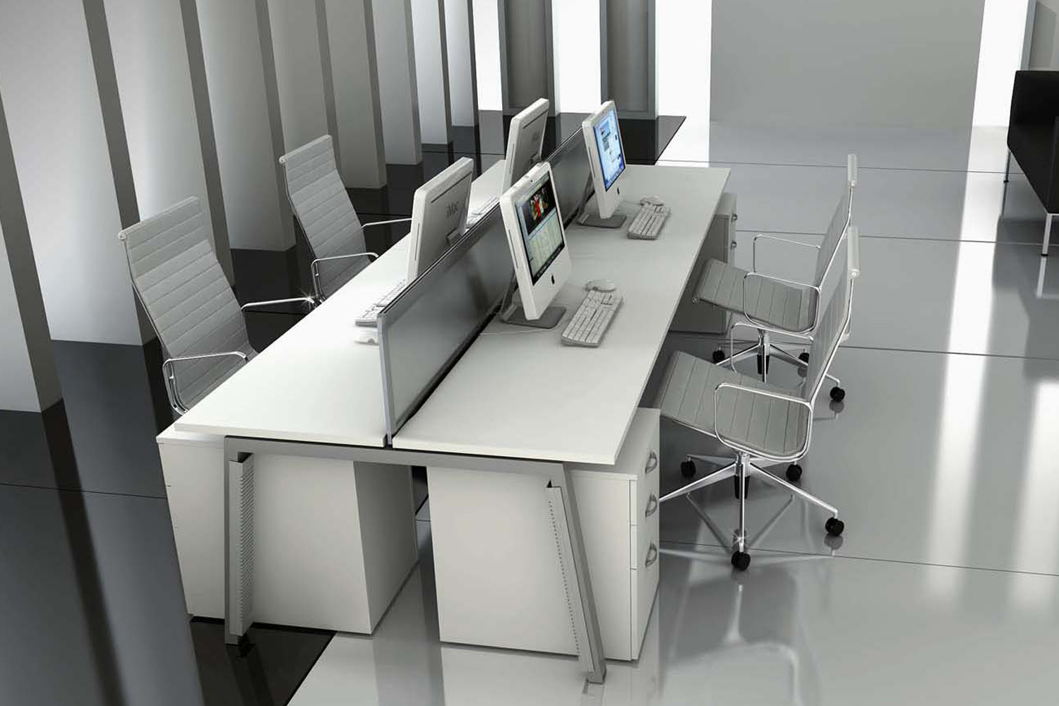 Grey themed office interior with contemporary tiling and white desks